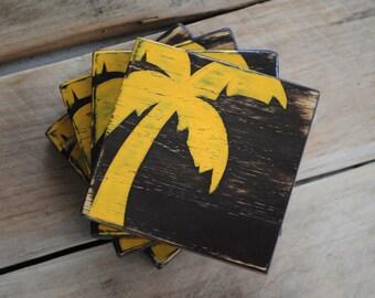 Palm Tree coaster set ... coastal beach shabby chic cottage shack style rugged decor