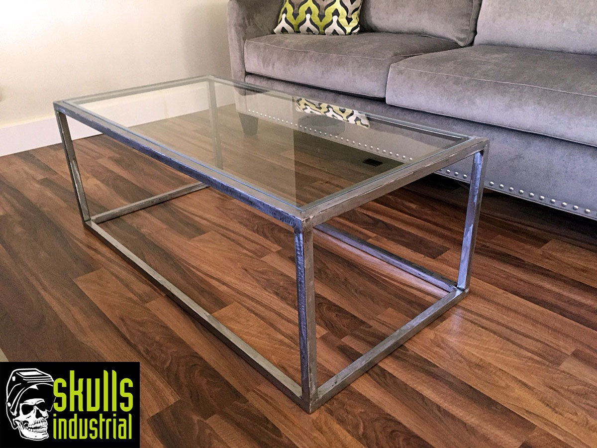 coffee table. welded steel with glass top. what's your