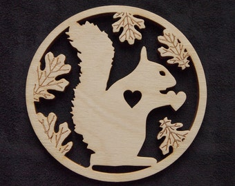 Wooden Squirrel Coaster 90mm with heart in Oak leaves, perfect gift.