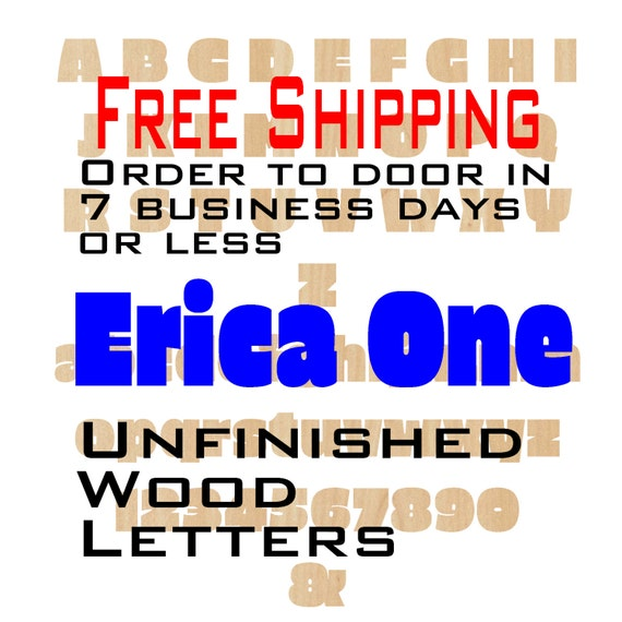 Unfinished Wood Letters Numbers, Free Shipping, Erica One, Wood Craft, laser cut wood, &, birch, wooden, wall, DIY, Wedding