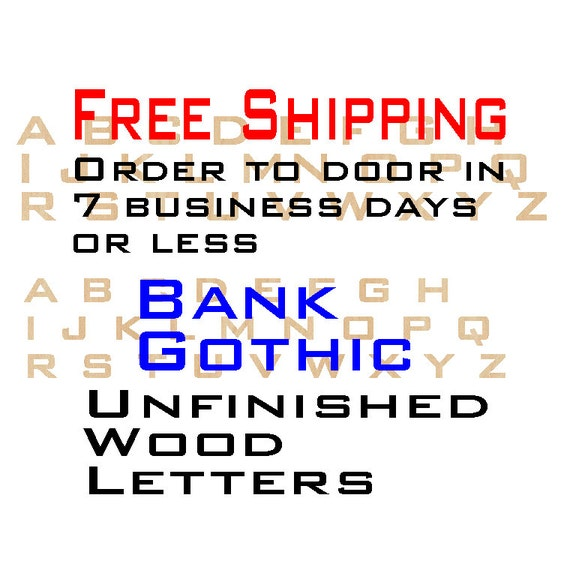 Unfinished Wood Letters, Free Shipping, Bank Gothic, Wood Craft Letters, laser cut wood wood, birch, wooden, wall letters