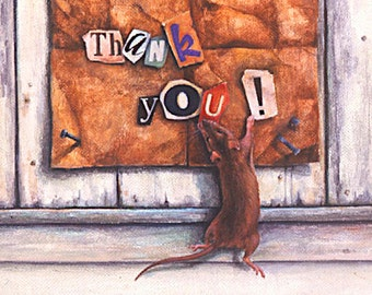 Thank You Card, Greeting Card, Mouse, Snippits