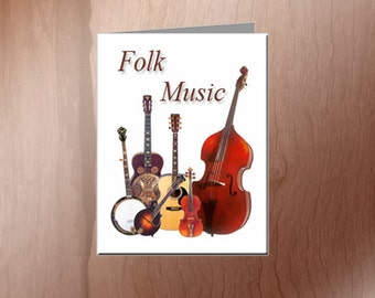 Folk Music Note Cards