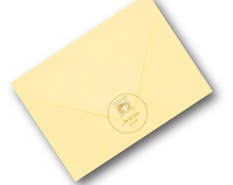 Circular wedding invitation seals in gold or silver on clear labels 24 per sheet OOAK custom designed and printed