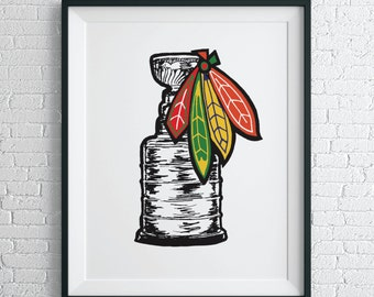 Stanley Cup  Wall Art / Blackhawks Poster / Chicago Art Print