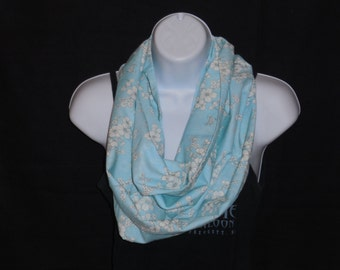Light Blue with White Flowers Infinity Scarf