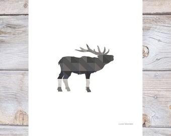 Moose geometric art, MOOSE art, moose wall art, geometric animal prints, moose art, moose decor, grey art, printable art, moose print