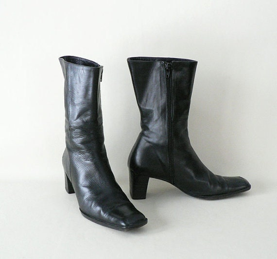 size 8 5 italian black leather winter boots