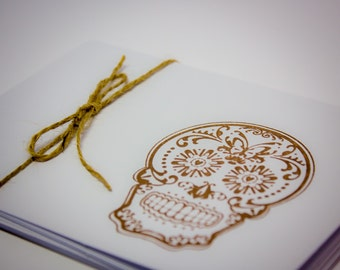 Sugar Skull Blank Cards Set of 5 Folded Simple brown hand stamped teacher gift masculine day of the dead dia de los muertos