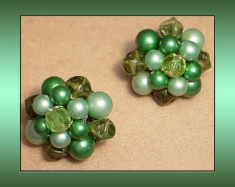 Faux Pearl Cluster Vintage Earrings Made in Japan