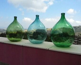Set of three antique italian demijohns, ancient bonbonnes