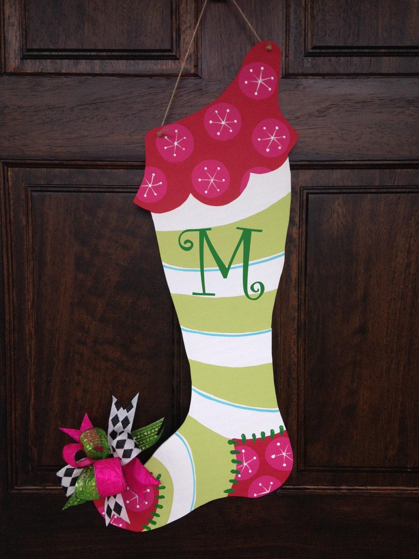 Hand painted christmas stocking wooden door hanger