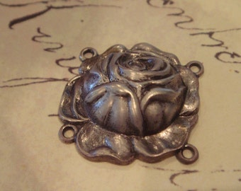 antique silver brass rose connectirs 4pc