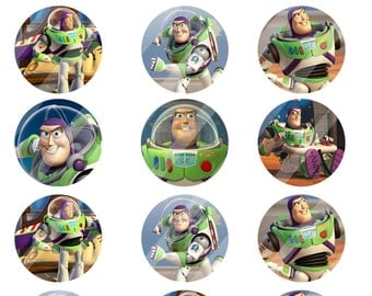 Buzz Lightyear digital collage sheet 8.5x11 2 inches round for cupcake toppers   INSTANT DOWNLOAD