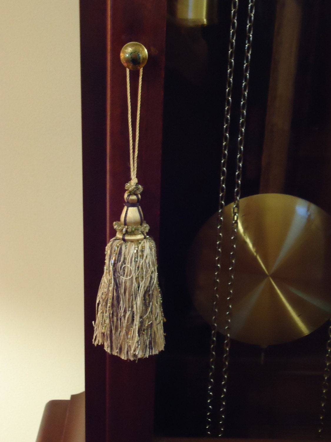 vintage armoire or key tassels in cream and antique gold. Black Bedroom Furniture Sets. Home Design Ideas