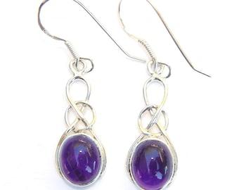 Beautiful Amethyst Sterling Silver Oval Knot Earrings
