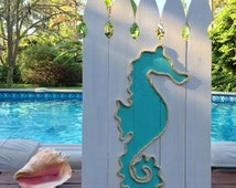 Handmade Seahorse with Rope On Fence Panels