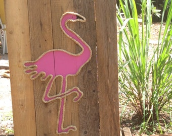 Handmade Flamingo with Rope  Beach Pallet Art Coastal Decor Pallet Art Rope Art Nautical Art Flamingo Art