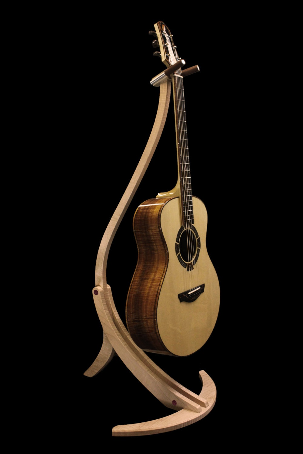 Handcrafted wooden guitar stand by master luthier jason