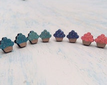 Glitter Cupcake Wood Stud Earrings, Hand Painted Jewelry, Sparkly Accessory, Cute Girl Gift, Laser-Cut Wood Stud Earring