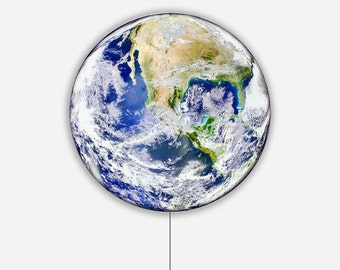 EARTH LIGHT: Illuminated Photo Art Light Panel - LED Light Panel with Backlit image of Earth from Space
