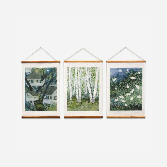 BELGIAN LINEN EDITION : Watercolor Paintings, Birch Trees / Moths / Tree Houses  Printed on Hanging Linen