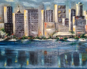 URBAN LANDSCAPE---Amazing original one of a kind oil painting on canvas NOW *********Free Shipping*******