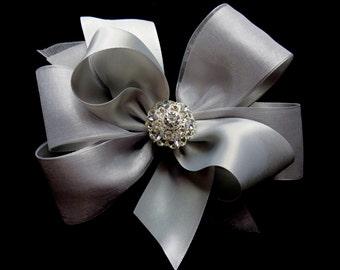 SILVER grey satin organza hair bow Christmas  rhinestone bling 5 inch flowergirl pageant alligator hair clip Cici's