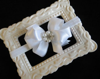 WHITE satin & organza Small Medium hair bow FOE elastic headband pearl rhinestone flower girl baptism christening baby infant toddler