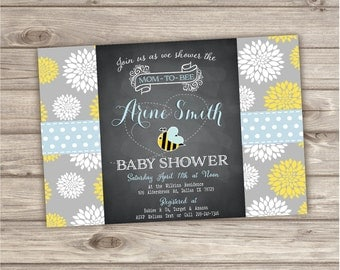 Honey Bee Baby Shower Invitations Flowers Boy Summer Rustic Party Download pdf jpeg Mom To Bee Chalkboard Chalk Board NV8042