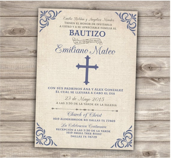 Spanish Printable Baptism Christening Invitations Burlap Cross Blue Grey Boy Bautizo Burlap ...