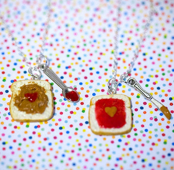 Miniature Cute BFF Peanut Butter Jelly Heart Necklace Set with knife ...