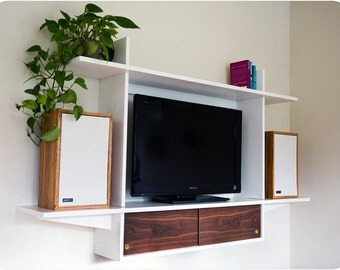 Floating Television Console With Sliding Doors - Mid Century Modern Inspired
