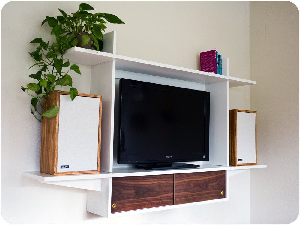 floating television console white lacquer with sliding doors. Black Bedroom Furniture Sets. Home Design Ideas