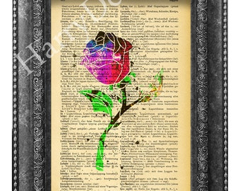 Beauty and the Beast, Belle Rose book print, dictionary page print, art print, wall decor, wall art, upcycled book print