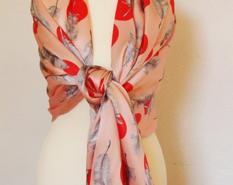 Pure silk hand designed scarf with hand-rolled hem