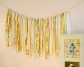 Shabby Chic Banner, Rag Fabric Garland, Roses, Yellow, Peach, Pink, Sage Green, Beige Lace, Nursery Decor, Wedding Decor, Bridal Shower