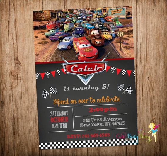 Cars Birthday Invitation Disney Cars Invitation By