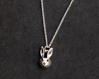 rabbit necklace jewelry, cute silver rabbit necklace, kids gift, black friday SALE