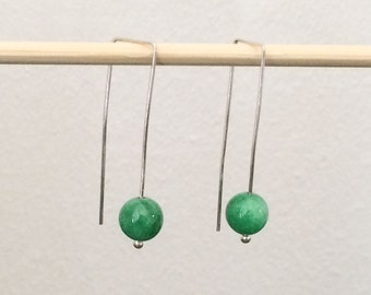 Eve, green jade ball earrings with 925 silver  finished