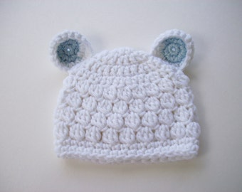 Crochet Bear Hat, Baby Boy Beanie, Newborn Hat, Baby Shower Gift, Baby Boy Hat, Baby Hat, Newborn Photo Prop, Newborn Baby Beanie, Baby Boy