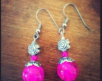 Pink Marbled Rose Earrings