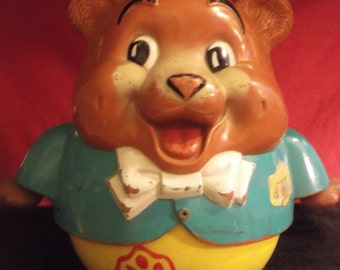 Vintage Fisher Price Rolly Polly Bear From 1969 In Great Condition Works