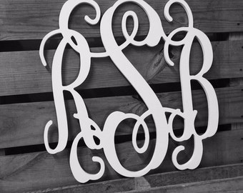 Wooden Monogram | Wall Art | Wall Hanging | Quick Ship Unpainted | Gift for Wedding or Anniversay | Dorm Decor |