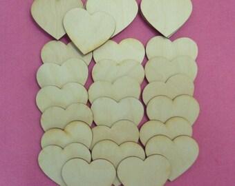 30 heart wood 7 cm for wedding birthday decoration badge