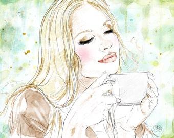 Custom coffee portrait - Personalized girl drinking coffee - Digital art
