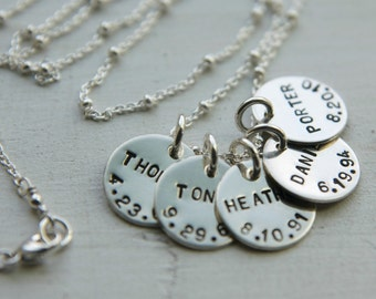 Five Charm Kids Name Necklace, Sterling Silver, Family Necklace, Custom Birthdate Necklace, Personalized Everyday Mom Jewelry, 5 Keepsake