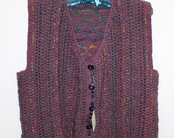 Crocheted wool waistcoat with buttons down the front.