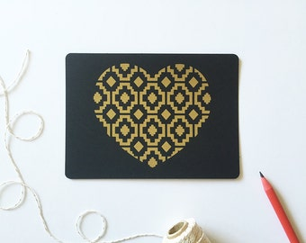 Love Postcard Set, Gold Heart, Glam Design, Black Postcards (Set of 3)
