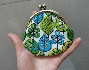 Free Shipping Green Change Purse Coin Wallet Clutch Kisslock Closure